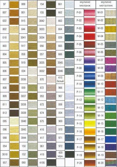 Таблица цветов мулине dmc и гамма
