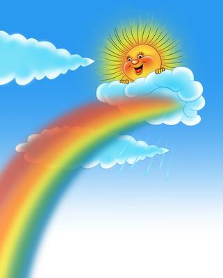 картинка тучка солнце радуга птичка каких материалов