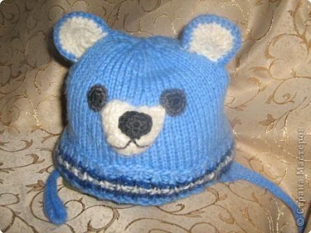Вязание спицами: вязанная шапочка-медвежонок Нитки.