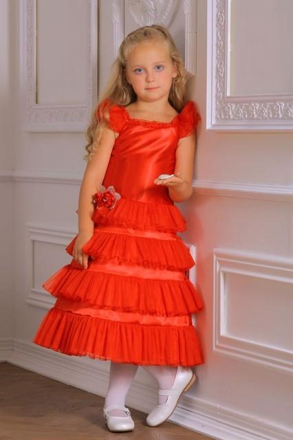 Платье детское Пирамидка красное.