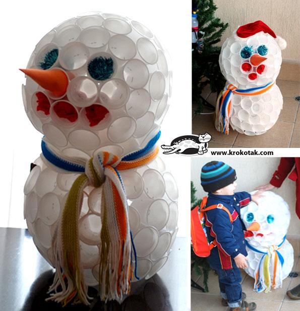 Пошаговая инструкция снеговик из пластиковых стаканчиков своими